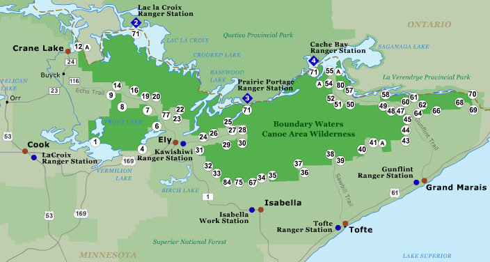 Boundary Waters Entry Point Map